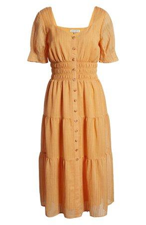 MOON RIVER Puff Sleeve Midi Dress | Nordstrom