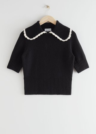 Wide Collar Wool Knit Sweater - Black - Sweaters - & Other Stories