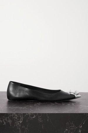 Embellished Leather Point-toe Flats - Black