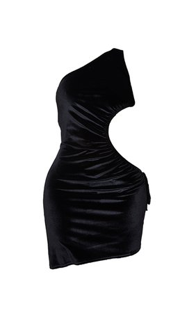 Shape Black Velvet Ruched Cut Out Side Bodycon Dres   PrettyLittleThing
