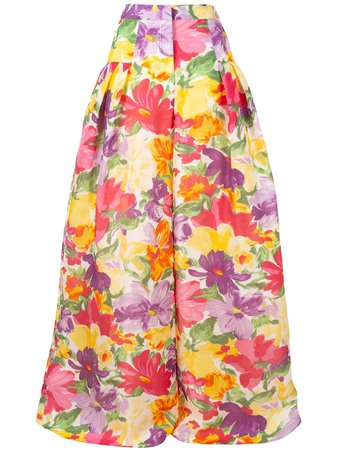 Carolina Herrera, Wide Leg Floral Trousers Pants