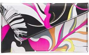 Metallic-trimmed Printed Faux Leather Envelope Clutch