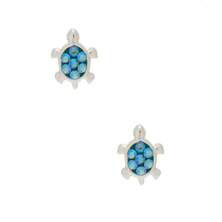 Sterling Silver Swarovski® Elements Turtle Stud Earrings - Turquoise | Claire's US