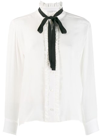 White Sandro Paris long-sleeved bow blouse - Farfetch