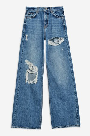 Mid Blue Ripped Slim Wide Jeans - Topshop USA