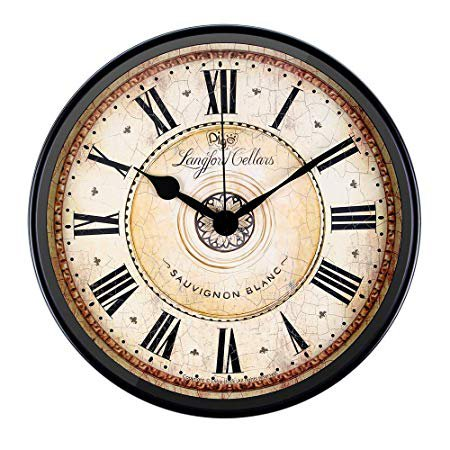 Justup Wall Clock, 12 inch Metal Black Wall Clock European Style Retro Vintage Clock Non - Ticking Whisper Quiet Battery Operated with HD Glass Easy to Read for Indoor Decor (Black 12'): Home & Kitchen