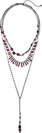 Steve Madden Women's Rhinestone Cluster 3 Layer Lariat Style Necklace