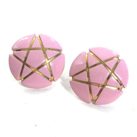 Star Earrings Vintage 80s Pink & Gold Avant Garde Statement | Etsy