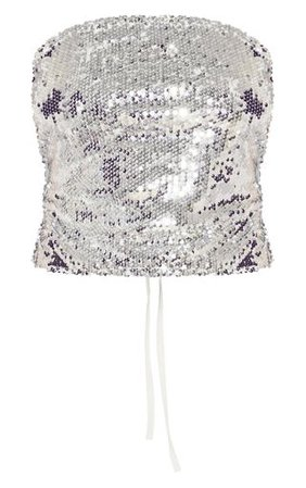 Silver Sequin Tie Back Crop Top   Tops   PrettyLittleThing