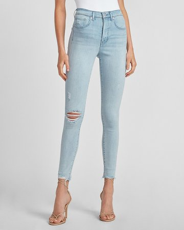 High Waisted Ripped Raw Hem Skinny Jeans