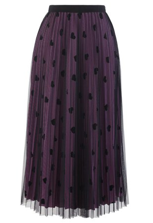 Chic Wish Mesh Overlay Heart Print Pleated Skirt in Violet - Retro, Indie and Unique Fashion