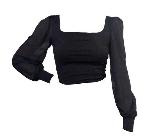 black puffed sleeve top blouse
