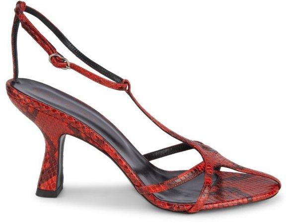 Star Snakeskin-Embossed Leather T-Strap Sandals