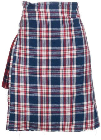 R 13 check asymmetric apron skirt