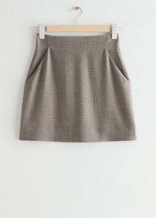 A-Line Mini Skirt - Beige Checks - Mini skirts - & Other Stories