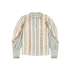 Gucci | Lace-paneled ruffled floral-print cotton-poplin shirt