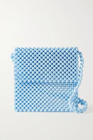 Light blue Beaded shoulder bag | Faithfull The Brand | NET-A-PORTER