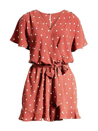 Amazon.com: LACOZY Womens Summer Loose V Neck Ruffles Sleeve Short Jumpsuit Rompers: Clothing