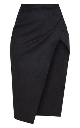 Dark Camel Faux Suede Extreme Split Wrap Midi Skirt | PrettyLittleThing USA