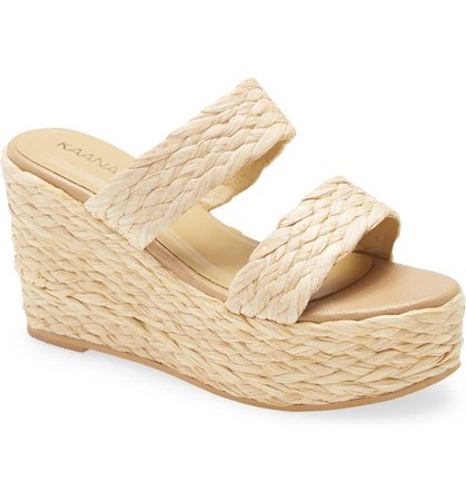 Kaanas Tenerife Raffia Platform Wedge Sandal (Women)   Nordstrom