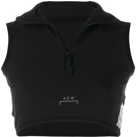 cropped zip-up tank top