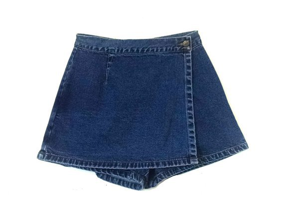 Vintage 1980s denim basic blues jeans skort | Etsy
