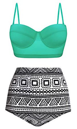 Aixy Womens Swimsuits Underwired Push Up Bikini Top High Waisted Bathing Suits, Green Mint Leaf,L: Clothing