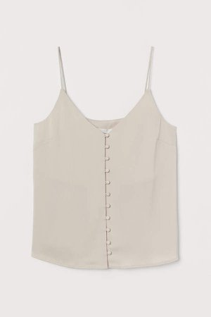 Buttoned V-neck Camisole Top - Beige