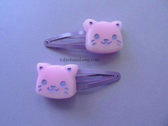 Pink Kitty Hair Clips Kawaii Pastel Goth Gothic Lolita | Etsy