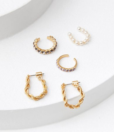 Pearlized Pave Ear Cuff & Threader Earring Set