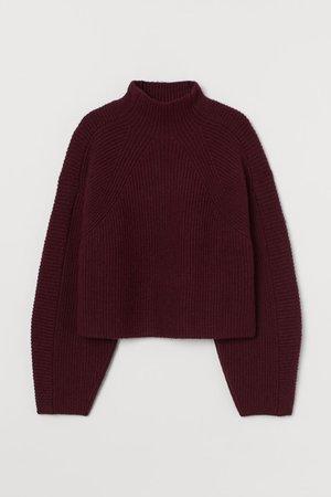 Knit Mock-turtleneck Sweater - Dark red - Ladies | H&M US