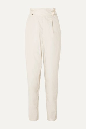 Ecru Pierson pleated cotton tapered pants | Isabel Marant | NET-A-PORTER