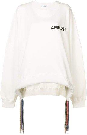 fringed logo print sweatshirt