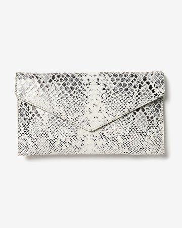 Snakeskin Textured Fold-Over Clutch