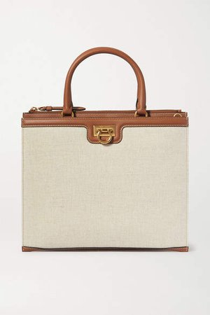 Gancio Leather-trimmed Canvas Tote - Beige
