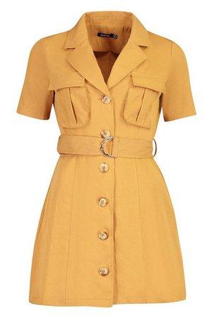 Woven Utility Pocket Blazer Dress | Boohoo