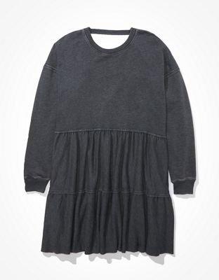 AE Fleece Open Back Babydoll Dress grey