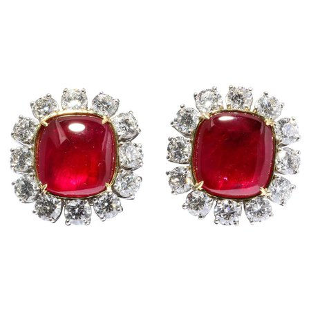 Important Burma Ruby and Diamond Earrings For Sale at 1stDibs
