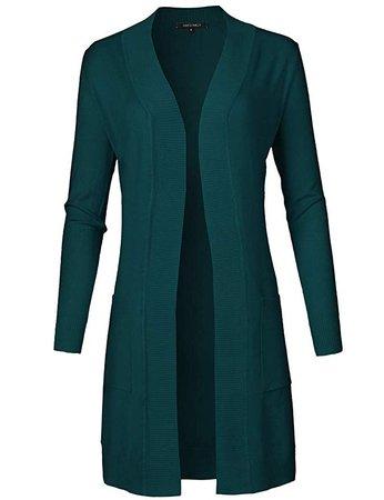 dark teal green cardigan sweater