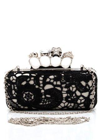 Black Lace Knuckle Ring Clutch Purse