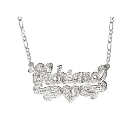 """silver Jay Aimee Designs - Personalized Sterling Silver or 14k Gold-Plated Nameplate Necklace with Beading and Rhodium, 18"""" Silver Plated Figaro Chain - Walmart.com - Walmart.com"""