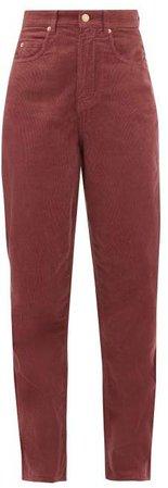 Corsyv Cotton Corduroy Straight Leg Trousers - Womens - Pink