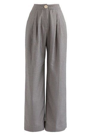 Houndstooth High-Waisted Wide-Leg Pants - Retro, Indie and Unique Fashion