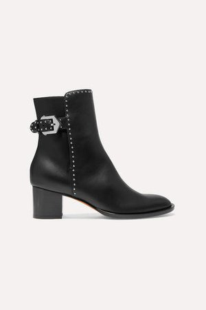 Elegant Studded Leather Ankle Boots - Black