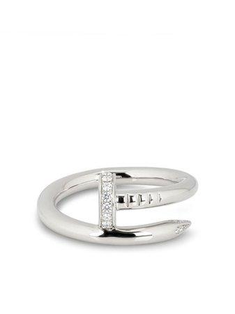 Cartier pre-owned 18kt White Gold Diamond Juste Un Clou Ring - Farfetch