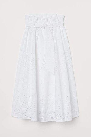 Eyelet Embroidery Skirt - White