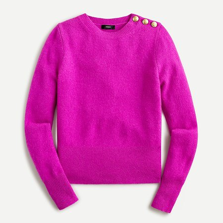 J.Crew: Crewneck Sweater With Shoulder Buttons For Women