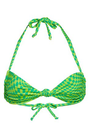 Frankies Bikinis Gabe Checker Print Knotted Halter Bikini Top | Nordstrom