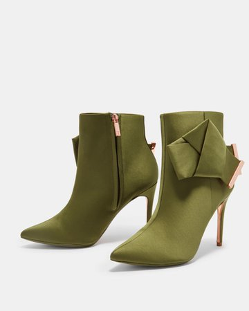 Knotted bow satin ankle boots - Mid Green | Shoes | Ted Baker UK