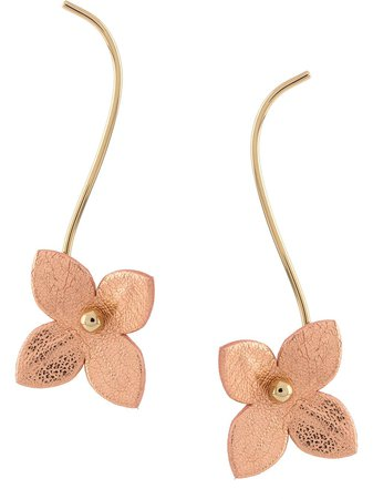 Marni dropped floral earrings gold & pink ORMV0242A0P3000 - Farfetch